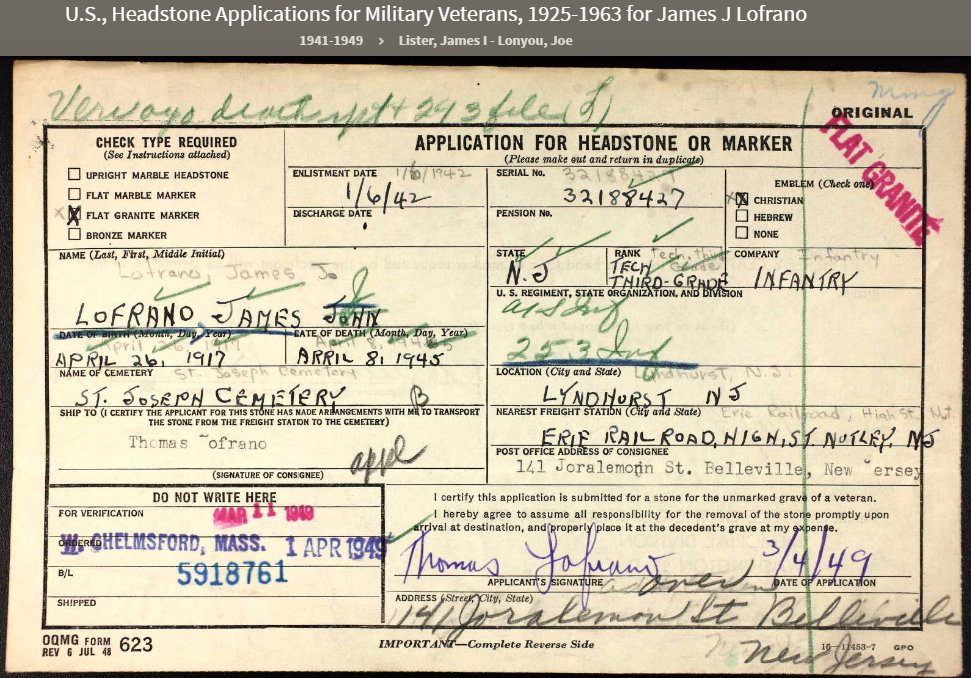 T3 James Lofrano of Nutley, N.J., was KIA in Germany on April 8, 1945.